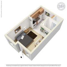 "The ""Moab"" microstudio floorplan at EkoHaus Freedom Center Living; Portland, OR, USA. 276 sq ft, $925-$965 Tiny Studio Apartments, Studio Apartment Layout, Small House Plans, House Floor Plans, Bedsit, Window Grill Design, Mini Loft, Shipping Container House Plans, Apartment Floor Plans"