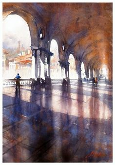 Palladian Loggia - Vicenza, Italy, by Thomas W. Schaller, Watercolor #watercolor jd