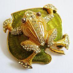 Reserved - Vintage 80s Edgar Berebi Limited Edition Gold Frog on a Lily Pad Green Enamel Rhinestone Designer Brooch Pin