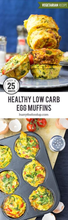 Healthy, Low Carb Egg Breakfast Muffins #vegetarian #muffin | http://hurrythefoodup.com