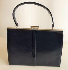 Elegant 50s Art Deco Kelly Style Handbag in Navy by ChrisTineDecor
