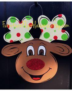 Reindeer door hangerchristmas door by Furnitureflipalabama on Etsy