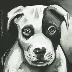Black & white dog daily painting | by Howie Green