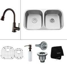 KRAUS All-in-One Undermount 32.25x18.5x13 0-Hole Double Bowl Kitchen Sink with Oil Rubbed Bronze Accessories-KBU22-KPF2220-KSD30ORB at The H...