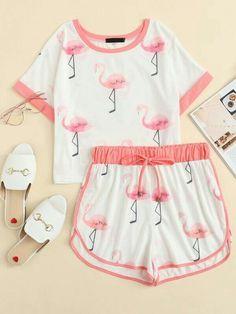 Flamingo Print Ringer Tee & Sweat Shorts Set -SheIn(Sheinside) - Flamingo Print Ringer Tee & Sweat Shorts Set -SheIn(Sheinside) Source by - Cute Pajama Sets, Cute Pjs, Cute Pajamas, Girls Pajamas, Teen Pjs, Cute Lazy Outfits, Kids Outfits Girls, Teenager Outfits, Pretty Outfits