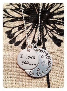 Personalized Stamped Crescent Moon Necklace  I love you to the moon and back- Great for all Occasions on Etsy, $25.63 CAD