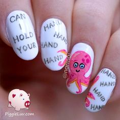 """What did the boy octopus say to the girl octopus? """"Can I hold your hand, hand, hand, hand, hand, hand, hand, hand?"""" Hahaha don't you just love Valentine's Day word jokes for nail art?"""