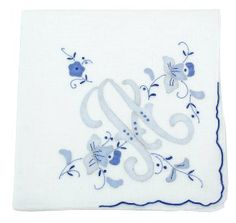 Cotton Handkerchief with Large Monogram Embroidery