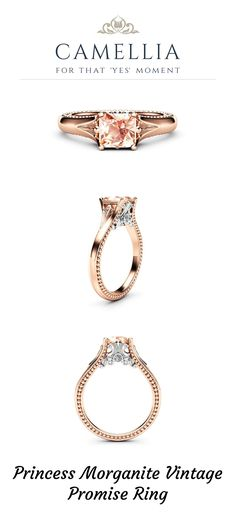 "Princess Morganite Vintage Promise Ring Two Tone Gold Engagement Ring Princess Cut Engagement Ring - Camellia Jewelry - For That ""Yes"" Moment Vintage Style Engagement Rings, Princess Cut Engagement Rings, Beautiful Engagement Rings, Rose Gold Engagement Ring, 3 Carat, Promise Rings, Solid Gold, Gold Rings, Gemstones"