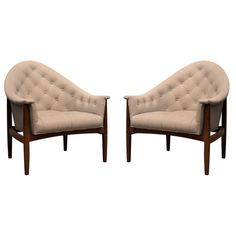 Pair of Milo Baughman for Thayer Coggin Tufted Lounge Chairs, circa 1960s