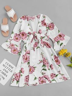 Random Florals Knot Front Dress: Shop [good_name] at ROMWE, discover more fashion styles online. Cute Dresses, Casual Dresses, Casual Outfits, Girls Dresses, Girls Fashion Clothes, Girl Fashion, Fashion Dresses, Fashion Styles, Fashion Trends