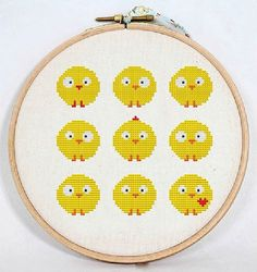 Сross stitch pattern PDF / JPEG Instant Download - Cute chickens, Easter cross stitch