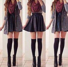 Infinity scarf & Skater skirt & Cardigan & Knee high socks