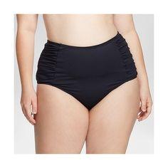 Women's Plus Size Shirred High Waist Bikini Bottom Black ($30) ❤ liked on Polyvore featuring swimwear, bikinis, bikini bottoms, black, plus size, plus size bikini swimwear, plus size high waisted bikini, swimsuit tops, high-waisted bikinis and bikini bottom