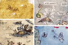 Sea monsters (clockwise from top left) of a manuscript of the Geographia of Ptolemy of 1460, the Mercator map of Europe in 1572, ATLAS Monte in 1590 and Theatrum Orbis Terrarum Ortelius of 1570.