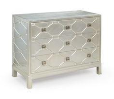 Bassett Mirror Mirrored Three Drawer Chest Decorative Storage Cabinet