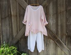 linen top blouse with rose in light pink ready to ship