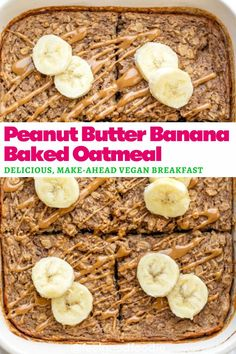 Easy to make this vegan Peanut Butter Banana Baked Oatmeal is delicious and tasty! This healthy make-ahead breakfast will keep you feeling full until lunch Vegan Lunches, Vegan Snacks, Vegan Desserts, Amish Recipes, Dutch Recipes, Baking Recipes, Free Recipes, Vegan Peanut Butter, Peanut Butter Banana