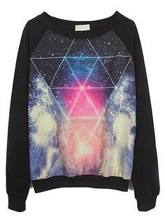 Black Long Sleeve Galaxy Triangle Print Sweatshirt at HelloShoppers
