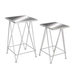 Classy Metal Side Table With Mirror, Set Of 2. Attractively designed a handy addition to any household, it is a classy table which has a durable metal frame and glass top. This table has a sturdy frame square in shape top which looks attractive. It is Decorative as well as functional piece of furniture for any household. Dimensions: 15X15X25 Material: Iron & Mirror Finish:  Color: Silver Lead Time: 3 to 10 business days UPC: 842822110303