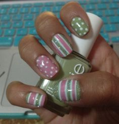 Essie Navigate Her & Essie Hard to Get with Polka Dots and Stripes; google images inspired.