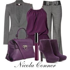 A fashion look from January 2013 featuring Vero Moda tops, STELLA McCARTNEY blazers and Alexander McQueen ankle booties. Browse and shop related looks. Lila Outfits, Purple Outfits, Mode Outfits, Classy Outfits, Chic Outfits, Fashion Outfits, Womens Fashion, Woman Outfits, Fashion 2018