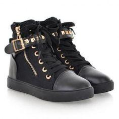 c6e03879eb0ea Punk Women High Top Zipper Ankle Boots Lace Up Rivet Strap Trainer Sneakers