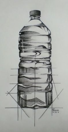 Bottle drawing by hand