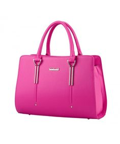 Womens Pure Color Pu Leather Boutique Tote Bags Top Handle Handbag - Hot  Pink - CG11YW8JJ5F e51ef421aeba2