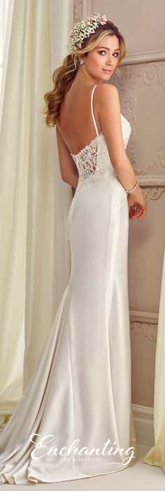 Enchanting by Mon Cheri Fall 2017 Collection - Style 217110 - sleeveless satin and lace sheath wedding dress with spaghetti straps and lace illusion dipped back