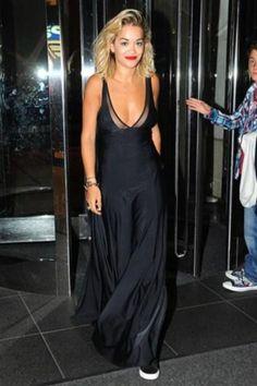 Rita Ora DKNY floor length black dress