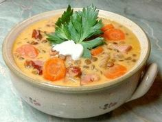 Sonkás-tejfölös lencseleves Chowder Recipes, Soup Recipes, Cooking Recipes, Hungarian Cuisine, Hungarian Recipes, B Food, Good Food, Eastern European Recipes, Healthy Snacks
