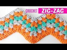 Knit crochet or zig-zag stitch # 4 granny style Crochet Ripple Blanket, Crochet Granny, Crochet Yarn, Crochet Stitches, Crochet Patterns, Knitting Patterns, Chevron Crochet, Punto Zig Zag Crochet, Beginner Crochet Projects