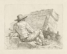 Johannes Pieter de Frey | Man zittend voor een stenen muurtje, Johannes Pieter de Frey, 1780 - 1834 | Een man zit, op de rug gezien, voor een muurtje waarop de tekst: Zes Studie-Beeltjes, Naar 't Leeven Getekend, Door J. Lauwers. en geëtst, door J. De Freÿ. De man draagt een hoed op het hoofd en klompen aan de voeten. Titelprent voor een serie etsen door prentmaker J.P. de Frey naar tekeningen van J. Lauwers.