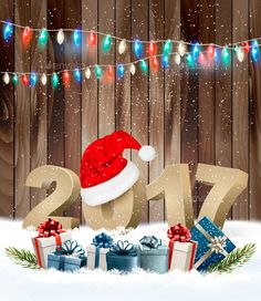 New Year Background With A 2017 And Santa Hat Vector