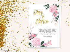 Diseño de invitación de boda con rosas de acuarela y caligrafía moderna. Colección Anne.   Diseño de invitación de boda moderna de estilo floral, con flores y rosas de acuarela en color rosa claro y verde botella. Combina dos estilos de texto, uno de ellos en falso efecto dorado y caligrafía moderna.