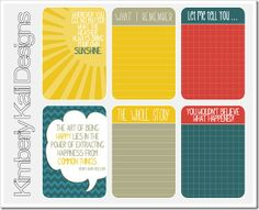 January 2013 free printable journaling cards