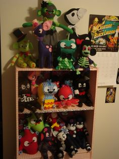 Getting ready for our next show! Here are the plushies - sock monkey's, dinosaurs, deer, octopi, and even zombie monkeys! All by Outlaw Heart Creations - all handmade!    www.outlawheartcreations.etsy.com