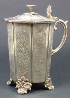 English sterling silver hinged lidded and footed cup floral scroll, 1845
