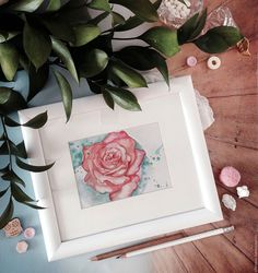 Купить Акварельная роза - белый, акварель, акварельный рисунок, акварельные цветы, роза