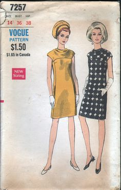 60's VOGUE Pattern - DRESS with BIAS YOKE and COWL NECKLINE  - BUST 36