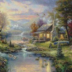 Thomas Kinkade Natures Paradise Cross Stitch Pattern***L@@K***~~ I SEND WORLD-WIDE ~~Free