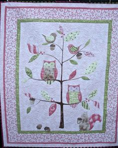 Sophie's Pink Owl Quilt by onebeelane on Etsy