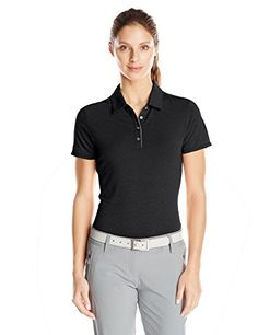 adidas Golf Womens Essentials Heather Short Sleeve Polo Shirt Black Small -- Want additional info? Click on the image.