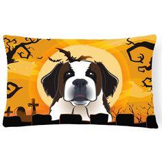 Carolines Treasures Halloween Saint Bernard Rectangle Decorative Outdoor Pillow - BB1804PW1216