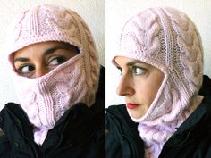 The prettiest balaclava I've ever seen.  I would wear this!From Russia, with Love: Cabled Balaclava | MAKE: Craft