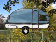 Stained Glass Trailer Suncatcher Blue/gray by TheHuckleberryBucket
