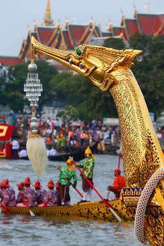 A royal barge reflecting its glory at the royal ceremony along the Chao Phraya River, Bangkok.