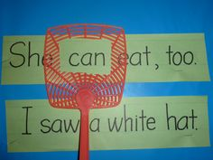 ) fly swatter to help young readers find and identify words. Reading ideas, learn to read, Reading Groups, Reading Skills, Guided Reading, Teaching Reading, Reading Buddies, Shared Reading, Reading Centers, Reading Wall, Reading Intervention