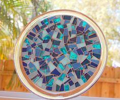 Teal Mosaic Trivet Candle Holder by GreenStreetMosaics on Etsy, $25.00